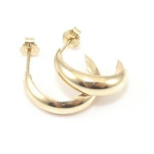 14K Yellow Gold Plain C Hoop Earrings